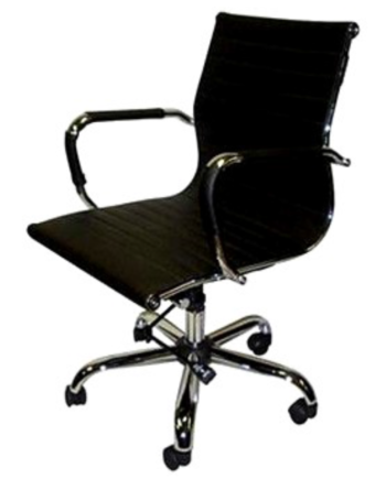 Mid-Back Black Executive Chair with Removable Arm Covers
