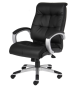 High-Back Black Executive Chair with Upholstered Arm Pads, Chrome Frame and Base