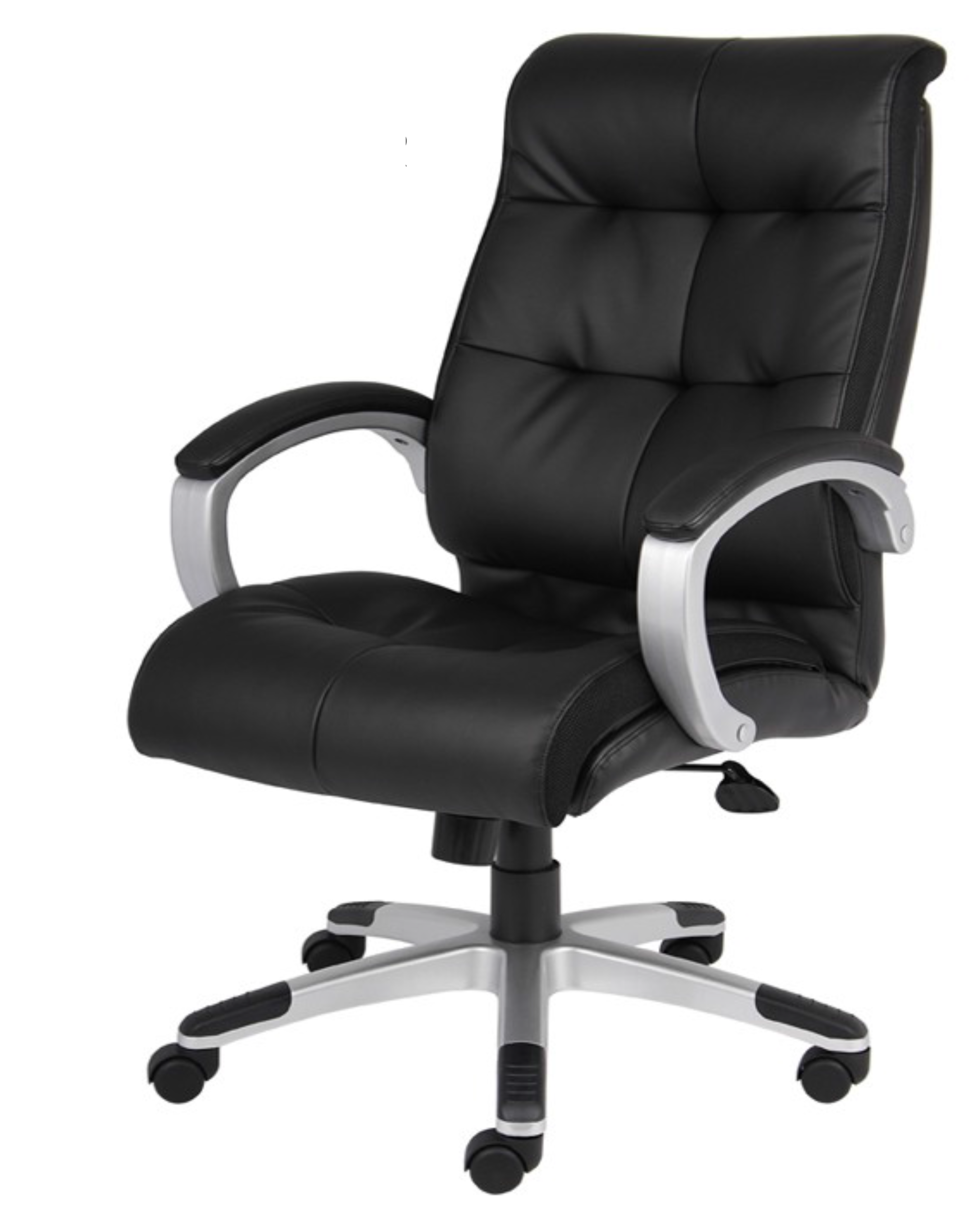high-back black executive chair with upholstered arm pads, chrome