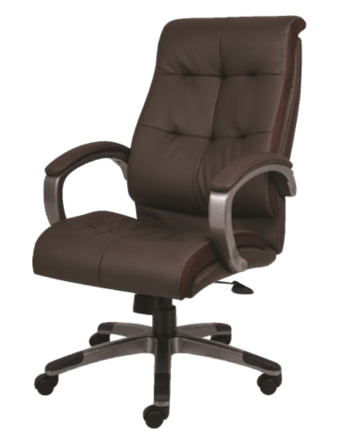 High-Back Brown Executive Chair with Upholstered Arm Pads, Chrome Frame and Base