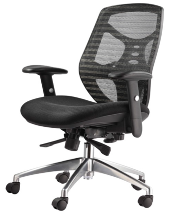 High-Back Managers Chair with Adjustable Padded Arms, Multi-Function Control, Built-in Lumbar Support and Chrome Base