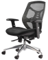 High-Back Manager's Chair with Adjustable Padded Arms,  Multi-Function Control, Built-in Lumbar Support and Chrome Base
