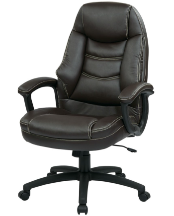 Oversized Espresso Executive Faux Leather Chair with Padded Arms