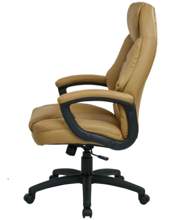 Oversized Tan Faux Leather Managers Chair with Padded Arms