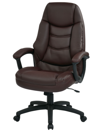 Oversized Burgundy Faux Leather Managers Chair with Padded Arms
