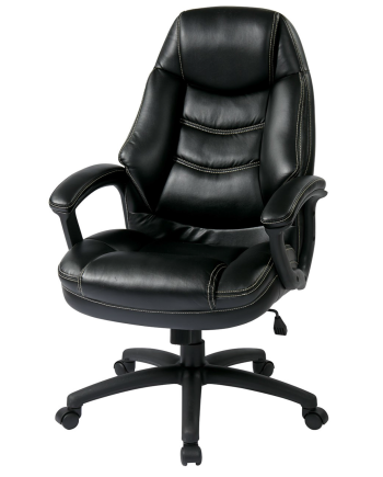 Oversized Black Faux Leather Managers Chair with Padded Arms