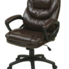 Brown Faux Leather Managers Chair with Padded Arms