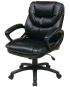 Black Faux Leather Manager's Chair with Padded Arms